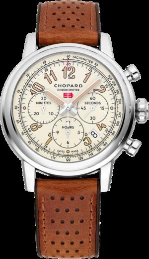 Herrenuhr Chopard Mille Miglia Classic Chronograph Raticosa mit beigefarbenem Zifferblatt und Kalbsleder-Armband