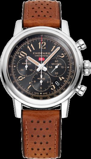 Herrenuhr Chopard Mille Miglia Classic Chronograph Raticosa mit schwarzem Zifferblatt und Kalbsleder-Armband
