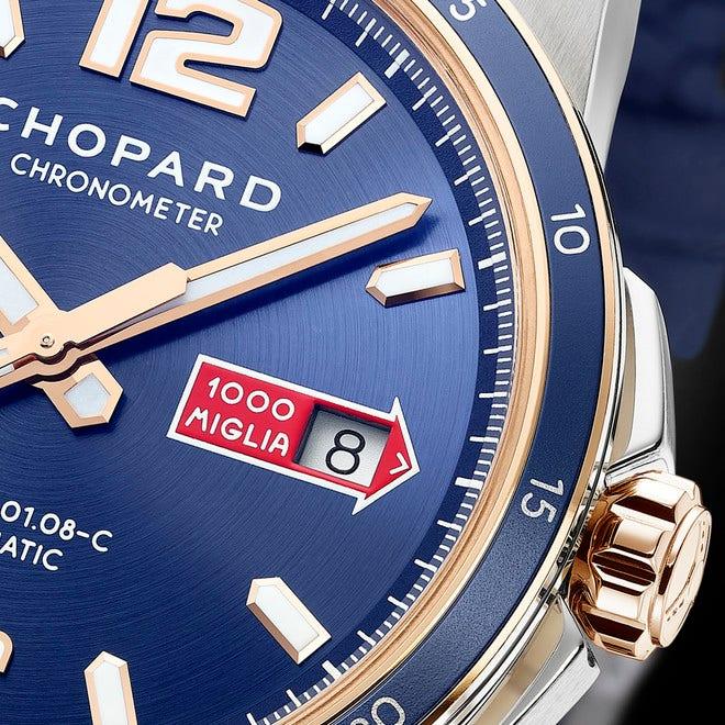 Herrenuhr Chopard Mille Miglia GTS Azzurro Power Control mit blauem Zifferblatt und Kalbsleder-Armband bei Brogle