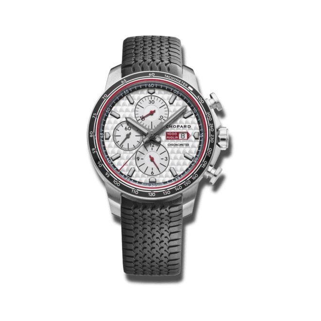 Herrenuhr Chopard Mille Miglia GTS Chronograph Race Edition 2017 mit silberfarbenem Zifferblatt und Kautschukarmband