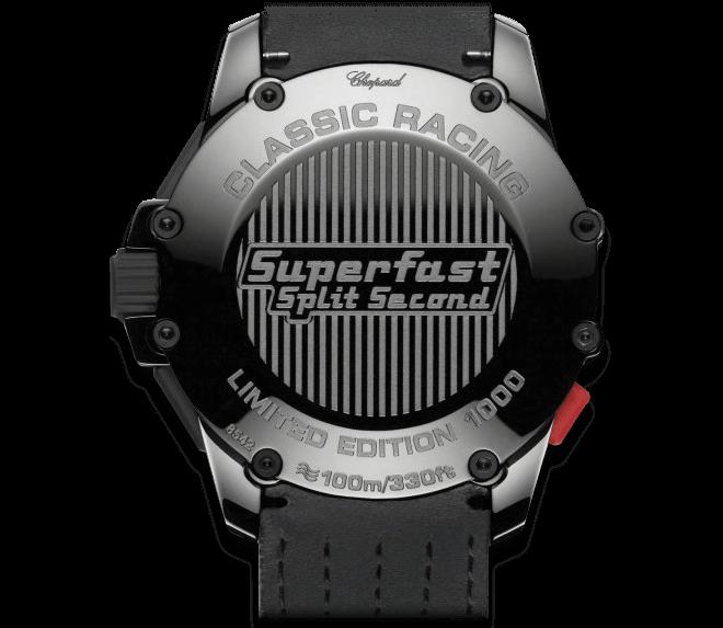 Herrenuhr Chopard Superfast Chrono Split Second 45mm mit schwarzem Zifferblatt und Kalbsleder-Armband