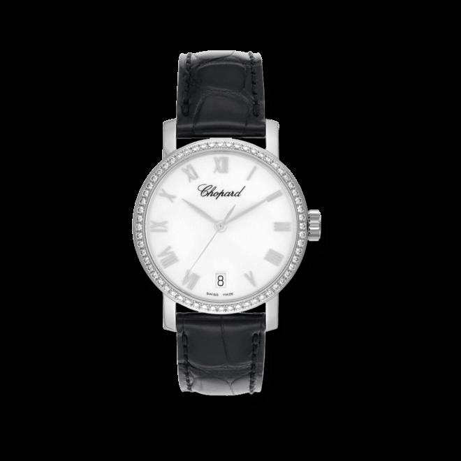 Damenuhr Chopard Classic Automatik mit weißem Zifferblatt und Alligatorenleder-Armband bei Brogle