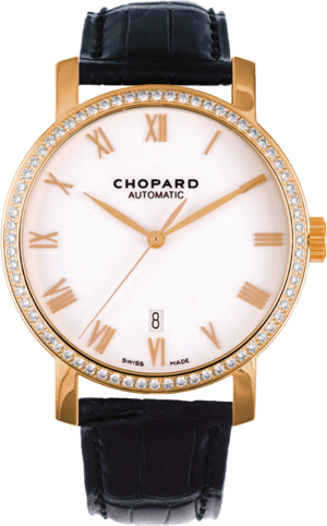 Herrenuhr Chopard Classic Automatik mit Diamanten, weißem Zifferblatt und Alligatorenleder-Armband