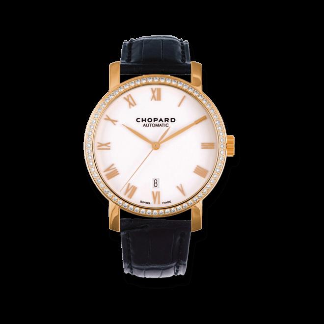 Herrenuhr Chopard Classic Automatik mit Diamanten, weißem Zifferblatt und Alligatorenleder-Armband bei Brogle