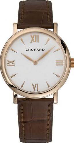 Damenuhr Chopard Classic Handaufzug mit weißem Zifferblatt und Alligatorenleder-Armband