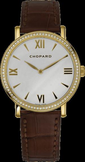 Damenuhr Chopard Classic Handaufzug mit Diamanten, weißem Zifferblatt und Alligatorenleder-Armband