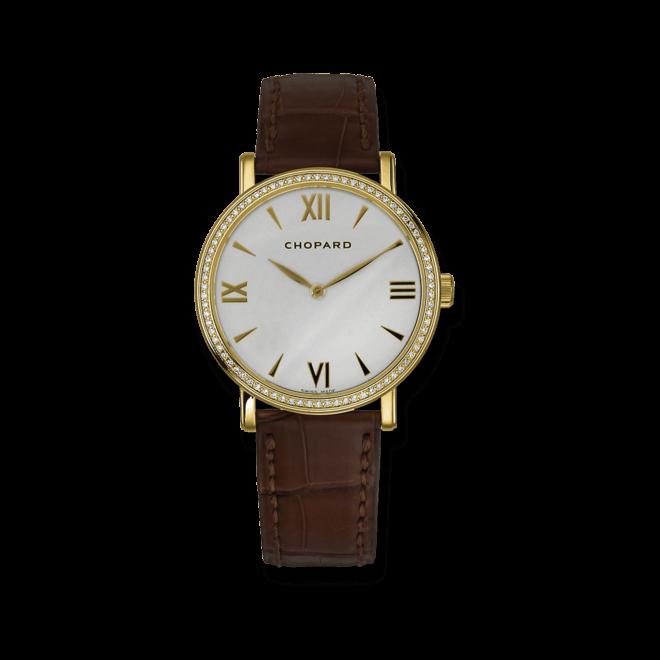Damenuhr Chopard Classic Handaufzug mit Diamanten, weißem Zifferblatt und Alligatorenleder-Armband bei Brogle