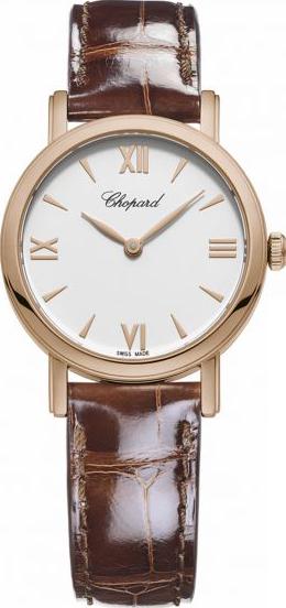 Damenuhr Chopard Classic Quarz mit Diamanten, weißem Zifferblatt und Alligatorenleder-Armband