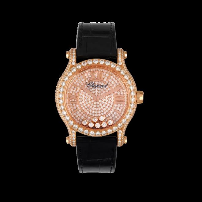 Damenuhr Chopard Happy Sport Medium Automatik mit Diamanten, roségoldfarbenem Zifferblatt und Alligatorenleder-Armband bei Brogle