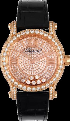 Damenuhr Chopard Happy Sport Medium Automatik mit Diamanten, roségoldfarbenem Zifferblatt und Alligatorenleder-Armband