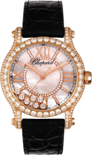 Damenuhr Chopard Happy Sport Medium Automatik mit Diamanten, perlmuttfarbenem Zifferblatt und Alligatorenleder-Armband