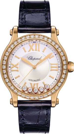 Damenuhr Chopard Happy Sport Automatik mit Diamanten, silberfarbenem Zifferblatt und Alligatorenleder-Armband