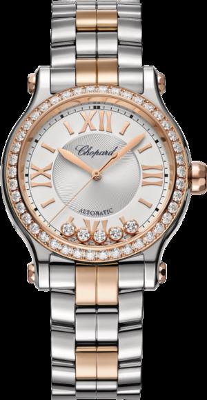 Damenuhr Chopard Happy Sport Automatik mit Diamanten, silberfarbenem Zifferblatt und Edelstahlarmband