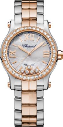 Damenuhr Chopard Happy Sport Automatik 30mm mit Diamanten, perlmuttfarbenem Zifferblatt und Edelstahlarmband