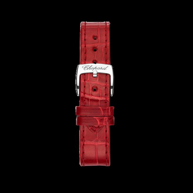 Damenuhr Chopard Happy Sport Automatik 30mm mit Diamanten, silberfarbenem Zifferblatt und Alligatorenleder-Armband bei Brogle