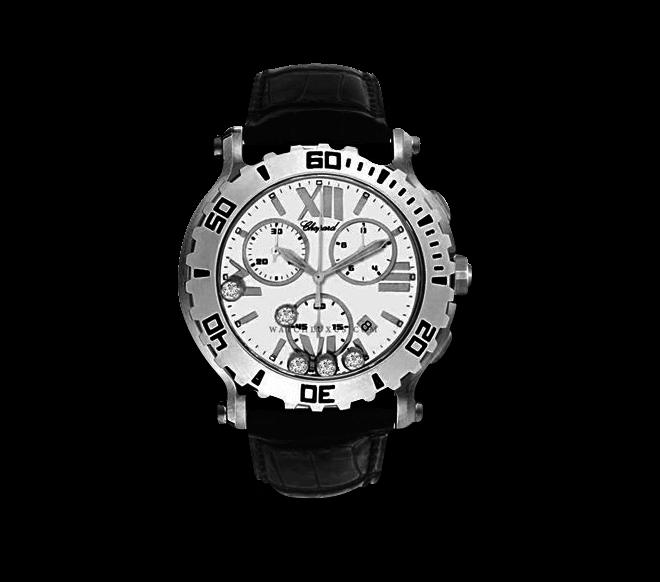 Damenuhr Chopard Happy Sport Chrono Quarz mit Diamanten, weißem Zifferblatt und Krokodilleder-Armband