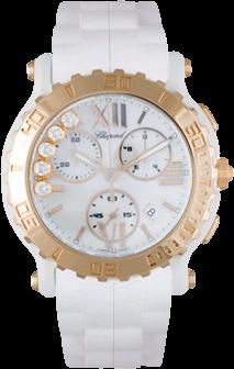 Damenuhr Chopard Happy Sport Chronograph Quarz mit Diamanten, weißem Zifferblatt und Kautschukarmband