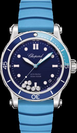 Damenuhr Chopard Happy Ocean Automatik mit Diamanten, blauem Zifferblatt und Kautschukarmband