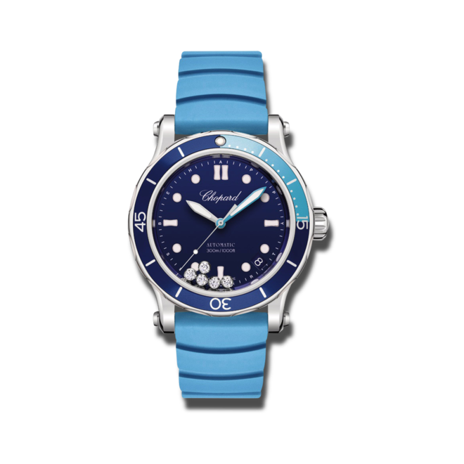 Damenuhr Chopard Happy Ocean Automatik mit Diamanten, blauem Zifferblatt und Kautschukarmband bei Brogle