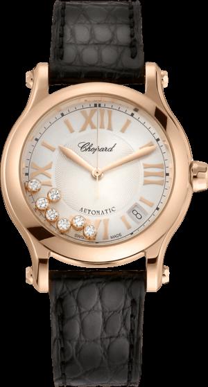 Damenuhr Chopard Happy Sport Medium Automatik mit Diamanten, champagnerfarbenem Zifferblatt und Alligatorenleder-Armband