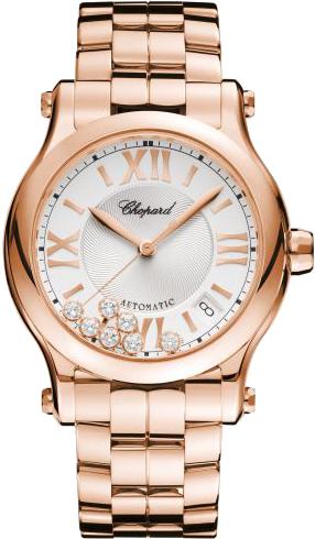 Damenuhr Chopard Happy Sport Medium Automatik mit Diamanten, weißem Zifferblatt und Roségoldarmband