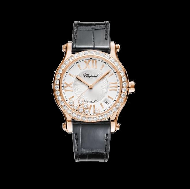 Damenuhr Chopard Happy Sport Medium Automatik mit Diamanten und weißem Zifferblatt bei Brogle