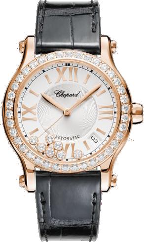 Damenuhr Chopard Happy Sport Medium Automatik mit Diamanten und weißem Zifferblatt