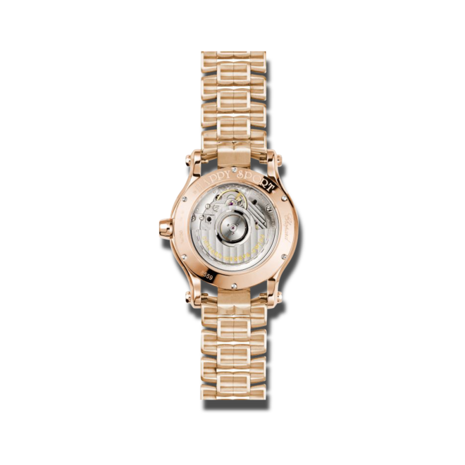 Damenuhr Chopard Happy Sport Medium Automatik mit Diamanten, silberfarbenem Zifferblatt und Roségoldarmband bei Brogle