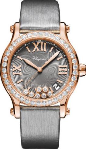 Damenuhr Chopard Happy Sport Medium Automatik mit Diamanten, grauem Zifferblatt und Textilarmband