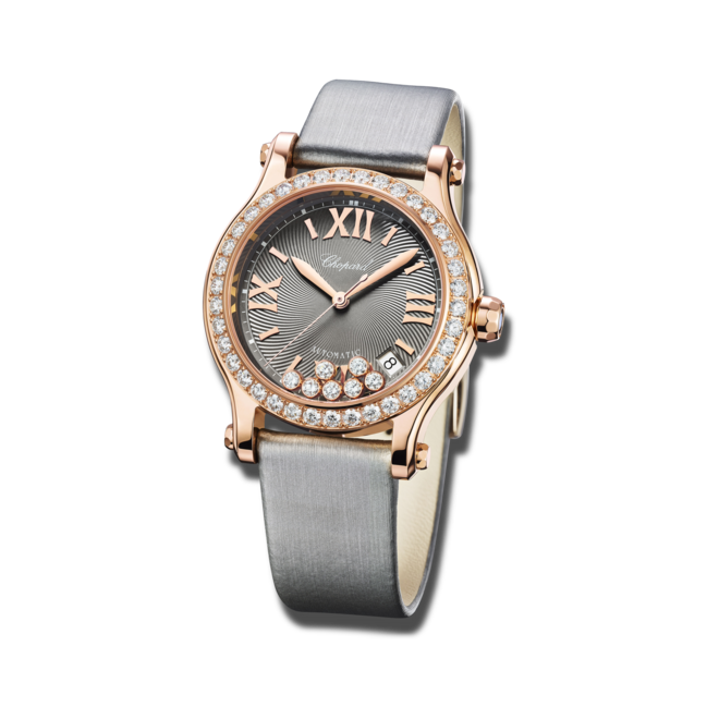Damenuhr Chopard Happy Sport Medium Automatik mit Diamanten, grauem Zifferblatt und Textilarmband bei Brogle