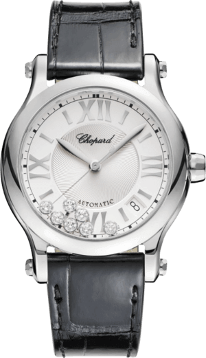 Damenuhr Chopard Happy Sport Medium Automatik mit Diamanten, silberfarbenem Zifferblatt und Alligatorenleder-Armband
