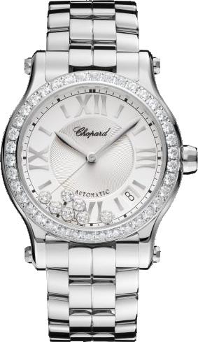 Damenuhr Chopard Happy Sport Medium Automatik mit Diamanten, silberfarbenem Zifferblatt und Edelstahlarmband