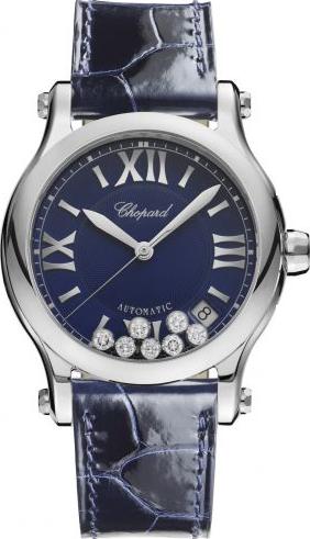 Damenuhr Chopard Happy Sport Medium Automatik mit Diamanten, blauem Zifferblatt und Armband aus Kalbsleder mit Krokodilprägung