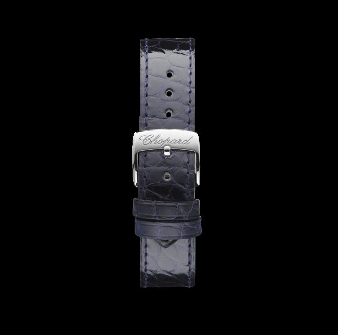 Damenuhr Chopard Happy Sport Medium Automatik mit Diamanten, blauem Zifferblatt und Armband aus Kalbsleder mit Krokodilprägung bei Brogle