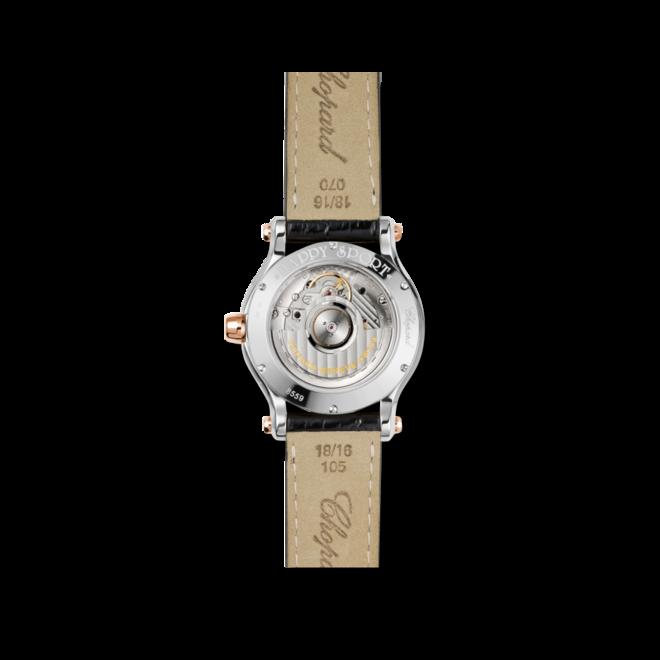 Damenuhr Chopard Happy Sport Medium Automatik mit Diamanten, silberfarbenem Zifferblatt und Alligatorenleder-Armband bei Brogle