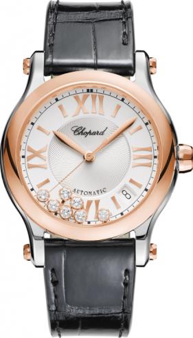 Damenuhr Chopard Happy Sport Medium Automatik mit Diamanten, silberfarbenem Zifferblatt und Alligatorenleder-Armband