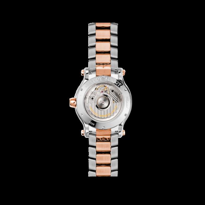 Damenuhr Chopard Happy Sport Medium Automatik mit Diamanten, silberfarbenem Zifferblatt und Edelstahlarmband bei Brogle