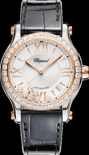 Damenuhr Chopard Happy Sport Medium Automatik mit Diamanten, weißem Zifferblatt und Alligatorenleder-Armband