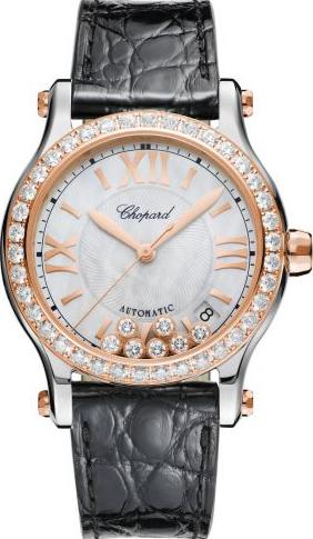 Damenuhr Chopard Happy Sport Medium Automatik mit Diamanten, perlmuttfarbenem Zifferblatt und Alligatorenleder-Armband