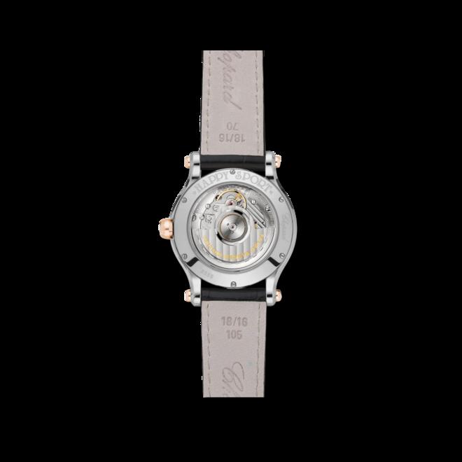 Damenuhr Chopard Happy Sport Medium Automatik mit Diamanten, perlmuttfarbenem Zifferblatt und Alligatorenleder-Armband bei Brogle
