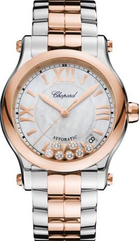 Damenuhr Chopard Happy Sport Medium Automatik mit Diamanten, weißem Zifferblatt und Edelstahlarmband
