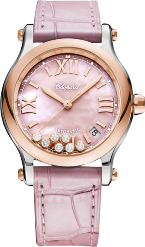 Damenuhr Chopard Happy Sport Medium Automatik mit Diamanten, pinkem Zifferblatt und Alligatorenleder-Armband