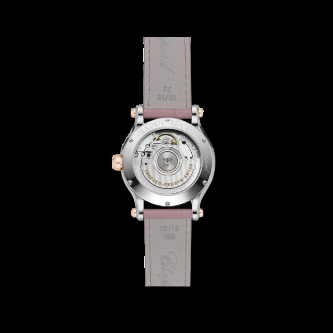 Damenuhr Chopard Happy Sport Medium Automatik mit Diamanten, pinkem Zifferblatt und Alligatorenleder-Armband bei Brogle