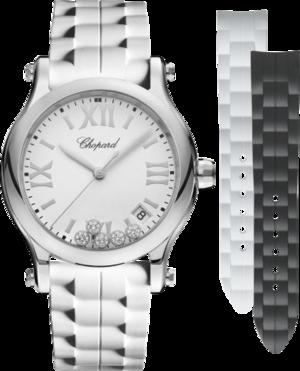 Damenuhr Chopard Happy Sport Medium Quarz mit Diamanten, weißem Zifferblatt und Kautschukarmband