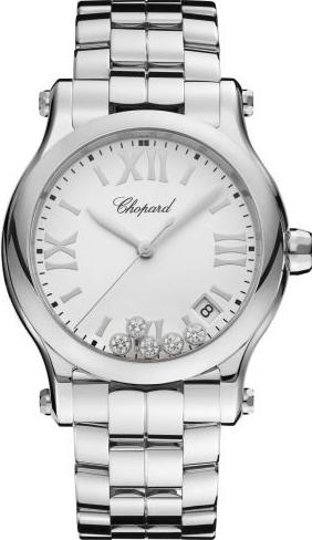 Damenuhr Chopard Happy Sport Medium Quarz mit Diamanten, weißem Zifferblatt und Edelstahlarmband