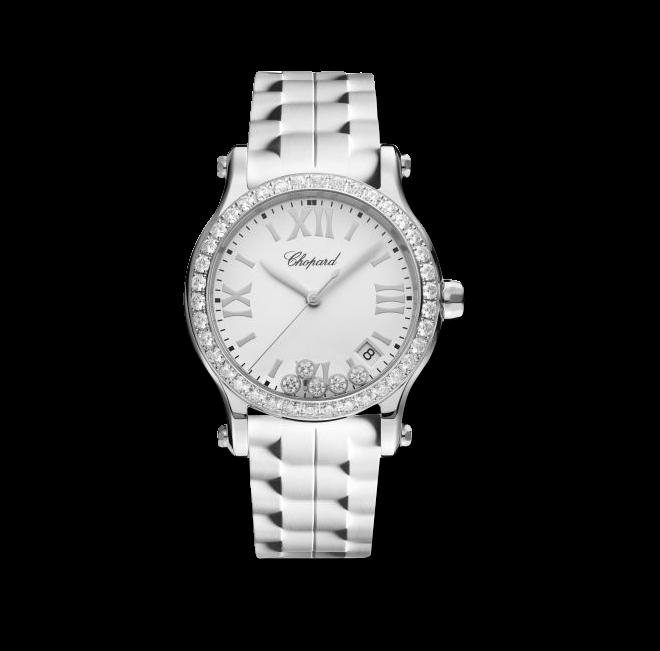 Damenuhr Chopard Happy Sport Medium Quarz mit Diamanten, weißem Zifferblatt und Kautschukarmband bei Brogle