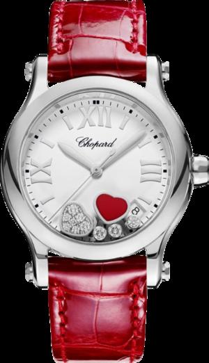 Damenuhr Chopard Happy Sport Medium Quarz mit Diamanten, weißem Zifferblatt und Alligatorenleder-Armband