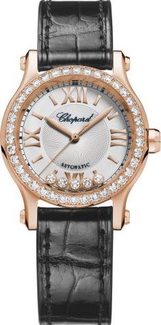 Damenuhr Chopard Happy Sport Mini Automatik mit Diamanten, silberfarbenem Zifferblatt und Alligatorenleder-Armband