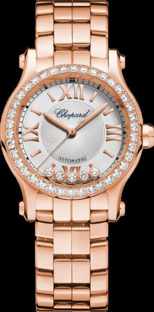 Damenuhr Chopard Happy Sport Mini Automatik mit Diamanten, silberfarbenem Zifferblatt und Roségoldarmband