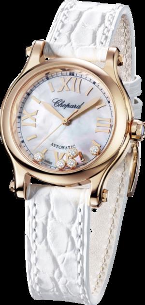 Damenuhr Chopard Happy Sport Mini Automatik mit Diamanten, perlmuttfarbenem Zifferblatt und Alligatorenleder-Armband
